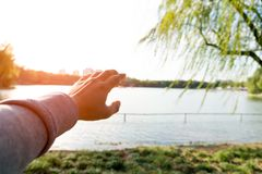 Цель руки подъема человека до успех Стоковое фото RF