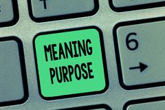 Цель смысла текста сочинительства слова Концепция дела для причины для которой что-то сделано или создано и существует стоковые изображения rf