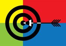 Цель с стрелкой в середине иллюстрация вектора