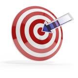 Цель успеха с голубой стрелкой Стоковое Изображение