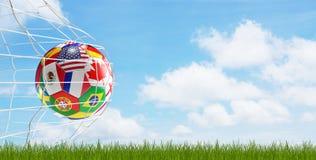 Цель 3d-illustration футбола футбольного мяча иллюстрация штока