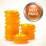 Цена знака самое лучшее при изолированные деньги Стоковое Изображение