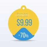 Цена знака стикера розницы символа скидки бирки продажи специального предложения вектор Стоковая Фотография