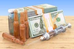 Цена лекарств и вакционной концепции Лекарства и пакеты доллара иллюстрация штока