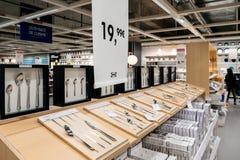 Цена покупок tableware и столового прибора Ikea Стоковые Изображения