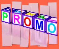 Цена середины слова Promo уменьшенное экстренныйым выпуском или  Стоковые Изображения RF