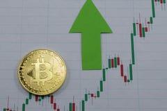Цена bitcoin растет, диаграмма повышения цен bitcoin стоковое фото