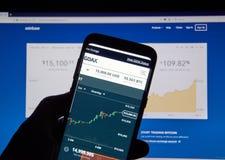 Цена Bitcoin USD на применении GDAX андроида Coinbase стоковые изображения rf