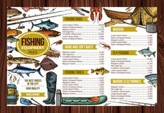 Цена equipement рыбной ловли спорта рыболова вектора Стоковое Изображение