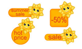Ценники с жизнерадостным солнцем Комплект иллюстрация вектора