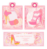 Ценники с комплектом года сбора винограда ботинок Стоковые Фото