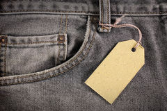 ценник джинсыов джинсовой ткани Стоковые Фото