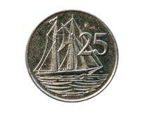 25 центов чеканят, 2 Masted шхуна Кеймана, Каймановы острова Obver Стоковое Изображение