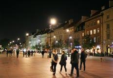 Центральная площадь Варшавы ночи старого города Стоковые Фото