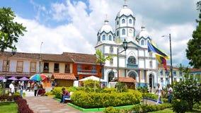 Центральная площадь Filandia Колумбия сток-видео