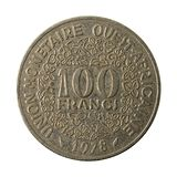 100 центрально-африканский obverse монетки 1978 франка CFA стоковое фото rf