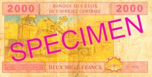 2000 центрально-африканских обратных банкноты франка CFA стоковое изображение