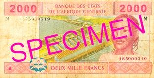 2000 центрально-африканских obverse банкноты франка CFA стоковые фото
