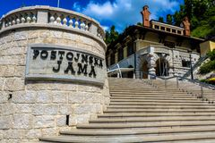 Центральный вход пещеры Postojna Jama Postojna, Словении Стоковые Фото