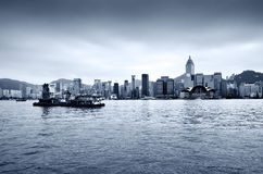 центральный горизонт Hong Kong заречья Стоковые Фотографии RF