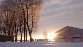 Центральный заход солнца Орегона снежный стоковые фотографии rf
