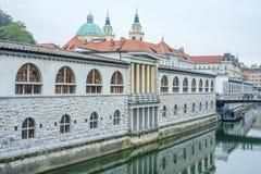 Центральный рынок и река Ljubljanica стоковые изображения