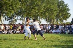 Центральный азиатский туркмен wrestling в Стамбуле Стоковые Фотографии RF