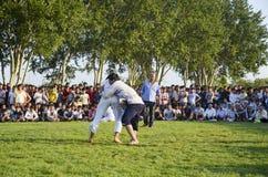 Центральный азиатский туркмен wrestling в Стамбуле Стоковое Фото