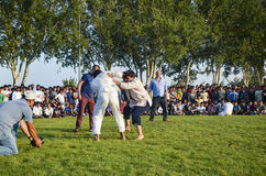 Центральный азиатский туркмен wrestling в Стамбуле Стоковая Фотография RF