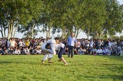 Центральный азиатский туркмен wrestling в Стамбуле Стоковые Изображения