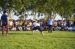 Центральный азиатский туркмен wrestling в Стамбуле Стоковое Изображение RF