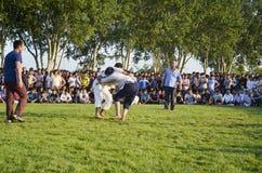 Центральный азиатский туркмен wrestling в Стамбуле Стоковое фото RF