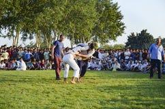 Центральный азиатский туркмен wrestling в Стамбуле Стоковая Фотография
