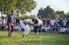Центральный азиатский туркмен wrestling в Стамбуле Стоковые Фото