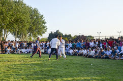 Центральный азиатский туркмен wrestling в Стамбуле Стоковое Изображение