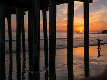 Центральный заход солнца побережья Калифорнии стоковое фото rf