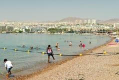 Центральный пляж Eilat, Израиля Стоковое Изображение