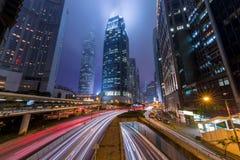 Центральный район Гонконга тумана на ноче Стоковое Фото
