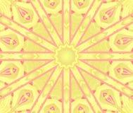 Центризованный пинк регулярн круглого желтого цвета орнамента звезды фиолетовый иллюстрация штока