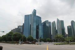 Центр города в Сингапуре Предпосылка города с зданиями Финансовый центр городка Стоковая Фотография RF