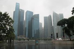 Центр города в Сингапуре Предпосылка города с зданиями Финансовый центр городка Стоковое Изображение