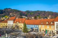 Центр города городка Samobor, Хорватии Стоковое фото RF