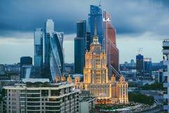 Центр города Москвы на ноче стоковые фотографии rf