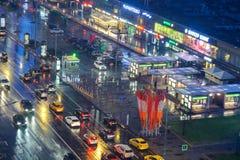 Центр города Москвы на ноче стоковое изображение