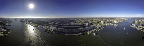Центр города Амстердама панорамы Стоковые Фото
