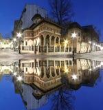 Центр города Бухареста старый Церковь Stavropoleos к ноча Турист стоковое фото rf
