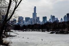 Центр города в зиме от Central Park Стоковые Изображения RF