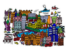 Центр города Дублина Иллюстрация штока