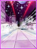 Центр города на полночи Стоковое Изображение