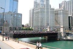 Центр города & река Чикаго Стоковое фото RF